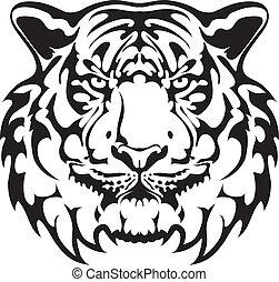 tiger, tatovering, vektor, -