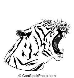 Abstract Tiger in the form of a tattoo