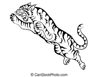 tiger tattoo jumping