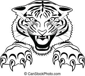 Vector Illustration Of Tiger tattoo