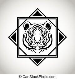 tiger, tatuagem, desenho, animal