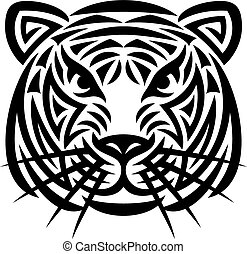 tiger, tatuaggio, testa, (tiger, face)