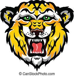 tiger, tatuaggio, testa, tribale