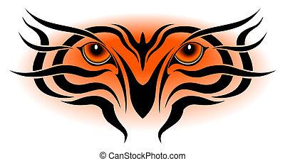 tiger, tatuaggio, tribale, occhi