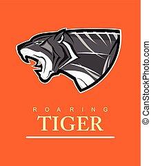 Tiger. Tiger head. Roaring tiger.