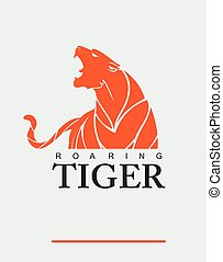 Tiger. Tiger with label.