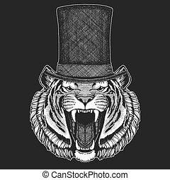 Tiger. Top hat, cylinder. Hipster animal, gentleman. Classic headdress. Print for children t-shirt, kids clothing.