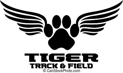 tiger track and field team design with paw print and wings...