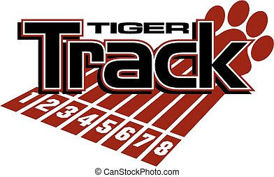 tiger track and field team design with track lanes and paw...