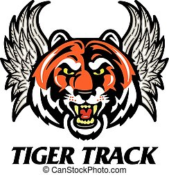 tiger track design with winged tiger head