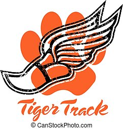 tiger track design with track foot and paw print