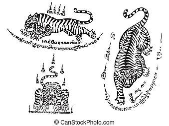 tiger, tradizionale, tailandese, arte, tatuaggio