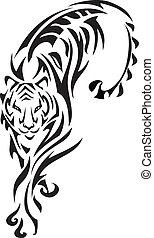 Tribal tiger graphics with incorporated fern and leaves elements