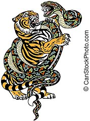 tiger versus snake tattoo - fight between tiger and snake. ...