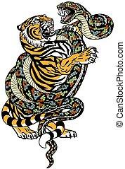 tiger versus snake tattoo