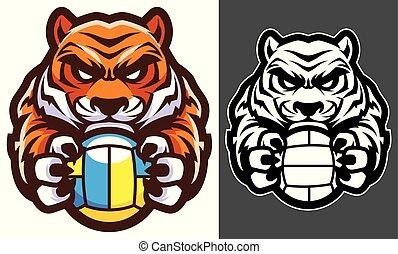 tiger, volleyball, mascot
