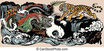 Green Chinese East Asian dragon versus tiger in the landscape with waterfall and water waves . Two spiritual creatures in the Buddhism representing the spirit heaven and matter earth. Graphic style vector illustration included Yin Yang symbol