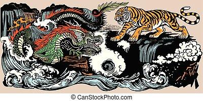tiger VS dragon illustration