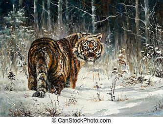 tiger, w, zima, drewno