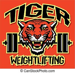 tiger weightlifting team design with mascot and barbell for...
