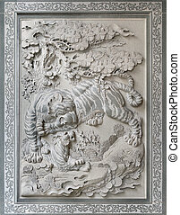 Tiger with Cub Chinese Temple Wall Stone Sculpture