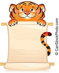 Tiger with scroll - Cute tiger cub holding scroll. Vector...