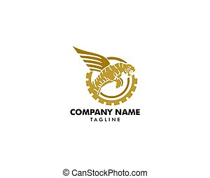 Tiger with wings vector logo design template