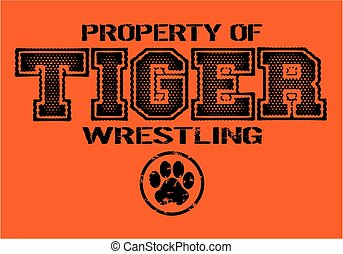 tiger wrestling - distressed tiger wrestling team design for...
