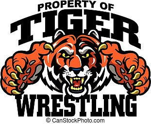 tiger wrestling team design with mascot for school, college...