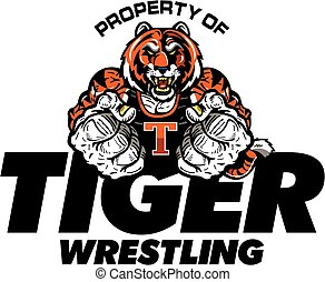 tiger wrestling team design with muscular mascot for school,...