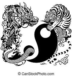 tiger, yin yang, ドラゴン