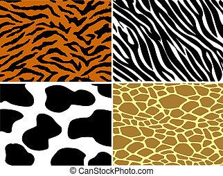 Tiger, zebra, cow and giraffe print