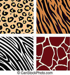 Tiger, zebra, leopard, giraffe skin