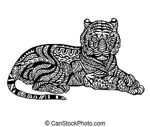 tiger, zentangle, イラスト