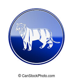 Tiger Zodiac icon blue, isolated on white background.