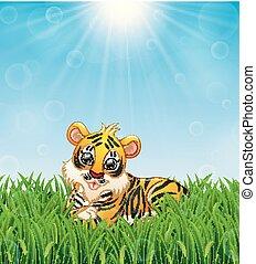 tiger, zonneschijn, dons, helder, leggen, achtergrond, gras, spotprent