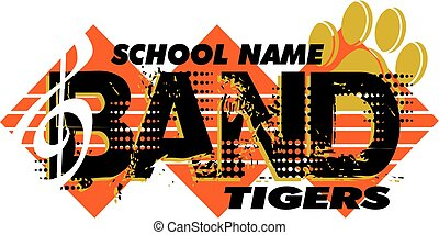 tigers band design with paw print and music note for school,...