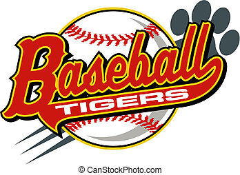 tigers baseball design with athletic tail