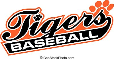 tigers baseball team design in script for school, college or...