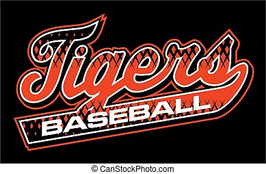 tigers baseball team design in script with tail for school,...