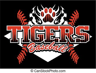 tigers baseball team design with flaming paw print for...