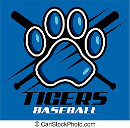 tigers baseball team design with paw print for school, ...