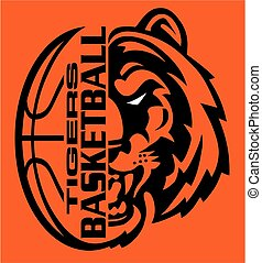 tigers basketball team design with half mascot face and ball...