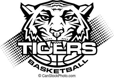 tigers basketball team design with mascot and ball for ...