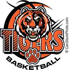 tigers basketball team design with mascot head inside orange...