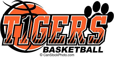 tigers basketball team design with paw print and ball for...