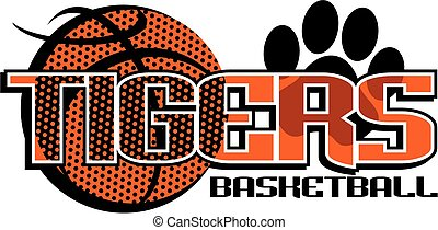 tigers basketball team design with paw print for school, ...