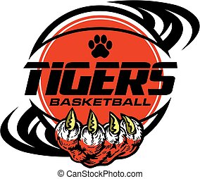 tigers basketball team design with paw print inside ball for...