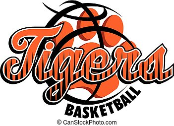 tigers basketball team design with stripes and paw print inside ball