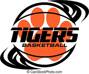 tigers basketball team design with swishes and paw print for...